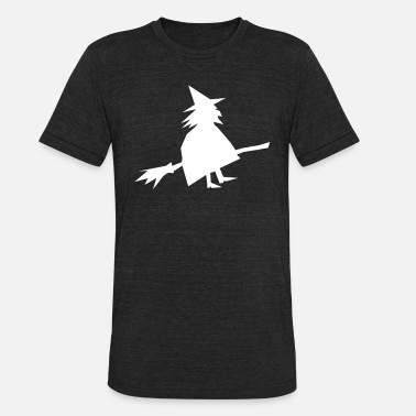Pointy Witch on a broom - Unisex Tri-Blend T-Shirt