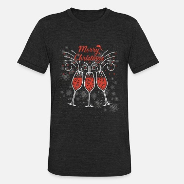 Champagne Prosecco Prosecco Champagne Funny Merry Christmas Glasses - Unisex Tri-Blend T-Shirt