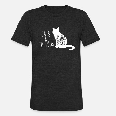 Tats And Cats Cats and Tattoos Shirt - Unisex Tri-Blend T-Shirt