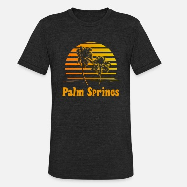 California Palm Tree Sunset Palm Springs California Sunset Palm Trees - Unisex Tri-Blend T-Shirt