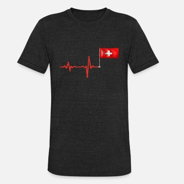 Lugano Heartbeat Switzerland flag gift - Unisex Tri-Blend T-Shirt