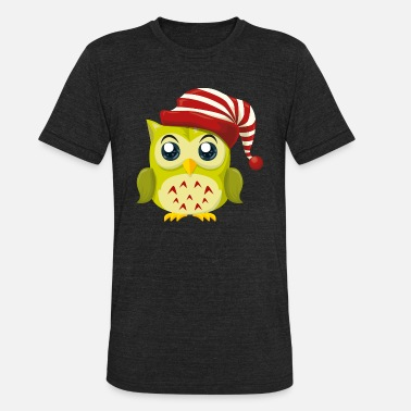 Cartoon Owl-New-Year-holiday-Christmas-cartoon - Unisex Tri-Blend T-Shirt