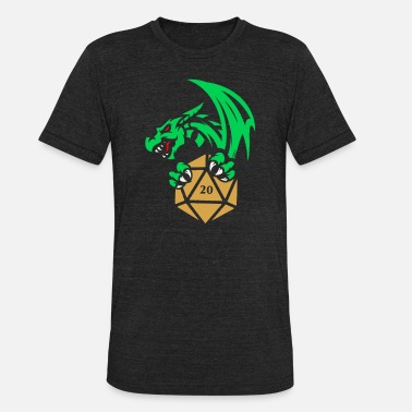 Role Green Dragon Polyhedral D20 Dice Tabletop RPG - Unisex Tri-Blend T-Shirt