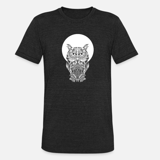 Moon T-Shirts - Owl and full moon - Unisex Tri-Blend T-Shirt heather black