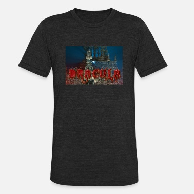 Bram Dracula's Castle at Night with Moon Beam - Unisex Tri-Blend T-Shirt