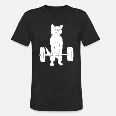 Sports Powerlifting - Cat Deadlift Powerlifting - Unisex Tri-Blend T-Shirt