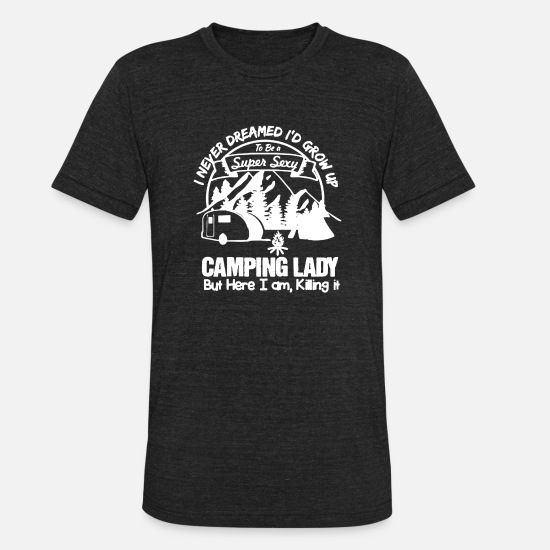 Camper T-Shirts - Camping Lady Shirt - Unisex Tri-Blend T-Shirt heather black