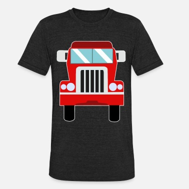 Add In Children truck red automotive vehicle cartoon gift idea - Unisex Tri-Blend T-Shirt