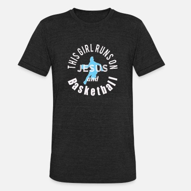 Hoopzone Awesome Christian Gift This Girl Runs on Jesus and Basketball - Unisex Tri-Blend T-Shirt