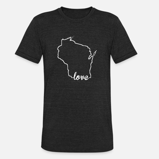 Wisconsin T-Shirts - Wisconsin Love State Outline - Unisex Tri-Blend T-Shirt heather black