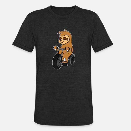 Proud T-Shirts - Sloth Riding Tricycle T-Shirt Animal In Trike - Unisex Tri-Blend T-Shirt heather black