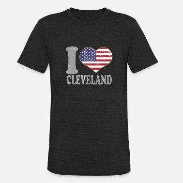 Cleveland Pride Apparel I Heart Cleveland City Pride July 4th American Flag - Unisex Tri-Blend T-Shirt