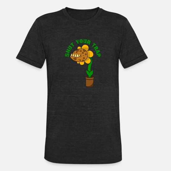 Trap T-Shirts - Flytrap Plant Humor Comic Gift - Unisex Tri-Blend T-Shirt heather black