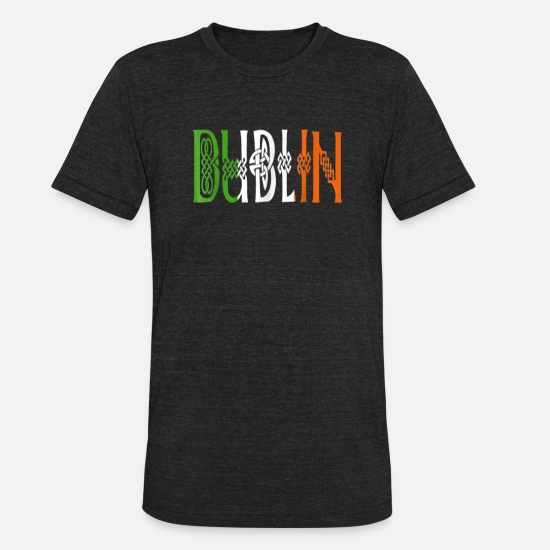 Irish Beer T-Shirts - Dublin T Shirt Irish Knot Flag Celtic Ireland St - Unisex Tri-Blend T-Shirt heather black