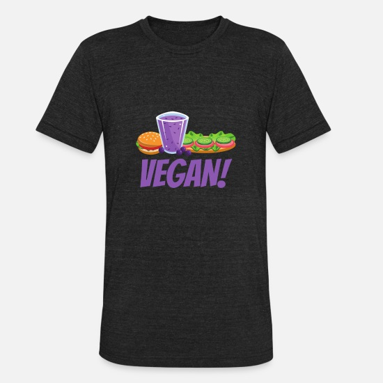 Love T-Shirts - Vegan Design Healthy Meal for Men, Women and Kids - Unisex Tri-Blend T-Shirt heather black