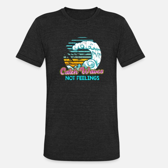 Miami T-Shirts - CATCH WAVES - Unisex Tri-Blend T-Shirt heather black