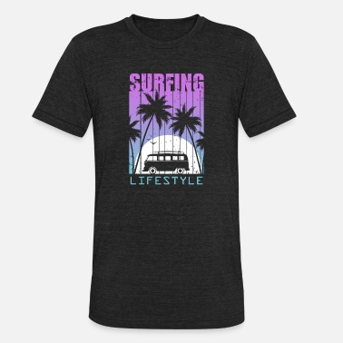 Surfing Lifestyle Palm Trees Summer Hot - Unisex Tri-Blend T-Shirt