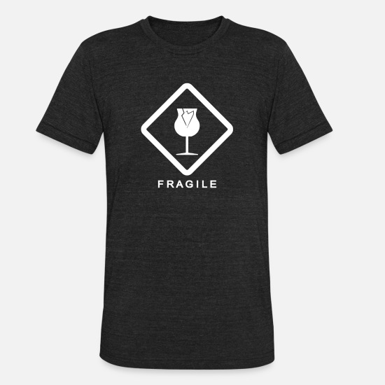 Geek T-Shirts - Fragile - Unisex Tri-Blend T-Shirt heather black