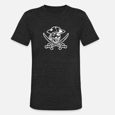 Cyber Pirate Anonymous face and sign outfit 17 - Unisex Tri-Blend T-Shirt