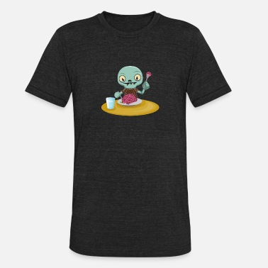 Kids Zombie zombie kid eating brain - Unisex Tri-Blend T-Shirt