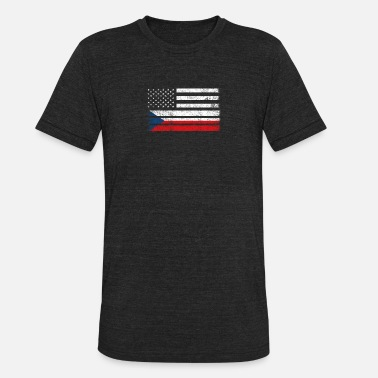 Czech Republic Flag Czech American Flag - USA Czech Republic Shirt - Unisex Tri-Blend T-Shirt