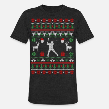 Christmas Softball Baseball Ugly Christmas Sweater - Unisex Tri-Blend T-Shirt