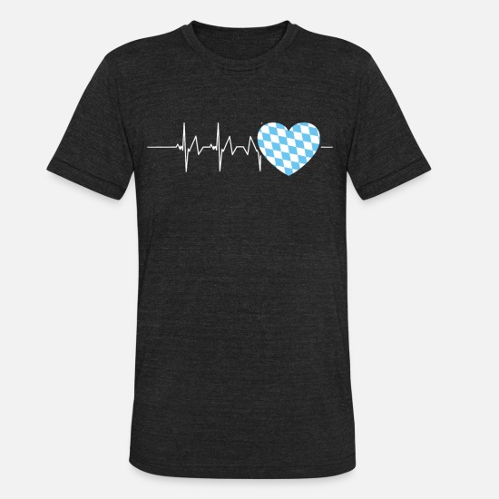 Bavaria T-Shirts - Bavarian Heartbeat Bavaria Southern Germany - Unisex Tri-Blend T-Shirt heather black