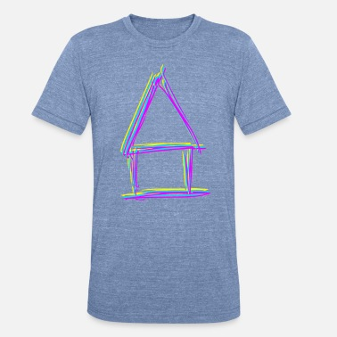 Line Drawing house - line drawing - Unisex Tri-Blend T-Shirt