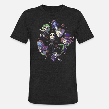 Tim Burtons Halloween Funny Cute Spooky Characters - Unisex Tri-Blend T-Shirt