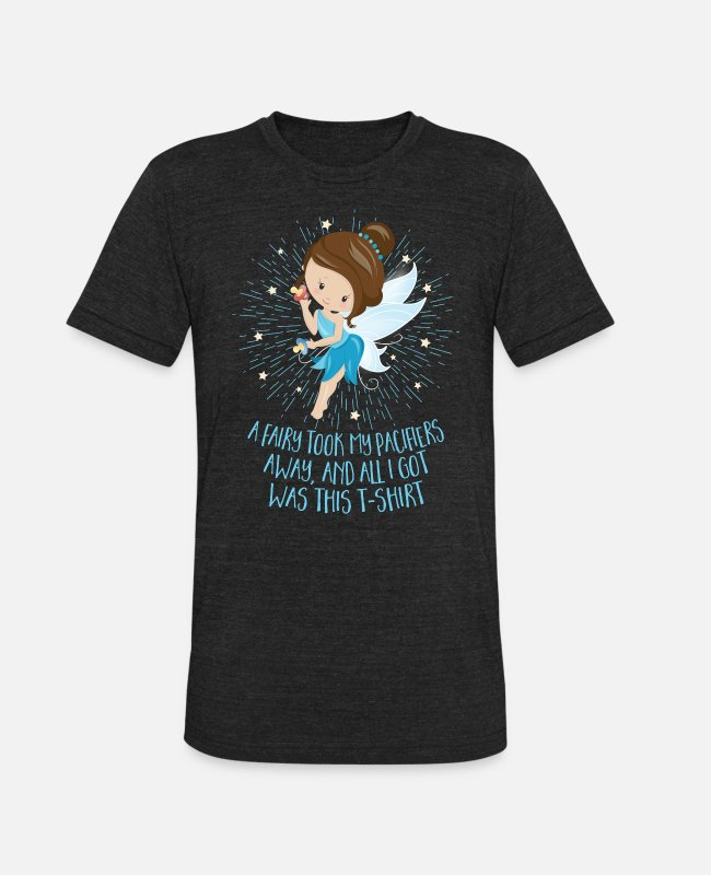 Fairy Tale Figure T-Shirts - Pacifier Fairy Gift Idea: Paci Fairy for Girls/Boys - Unisex Tri-Blend T-Shirt heather black