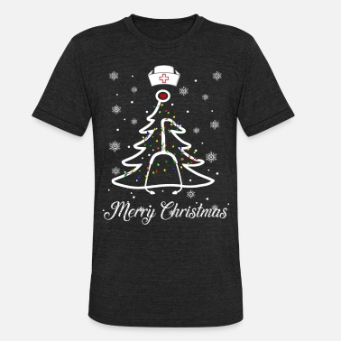 Merry Christmas Stethoscope Nurse Christmas Tree X - Unisex Tri-Blend T-Shirt
