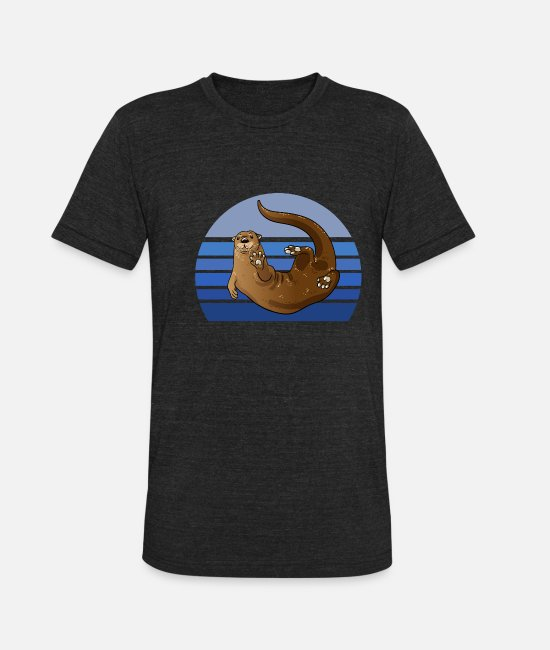 Otters T-Shirts - Otter Blue Retro - Unisex Tri-Blend T-Shirt heather black