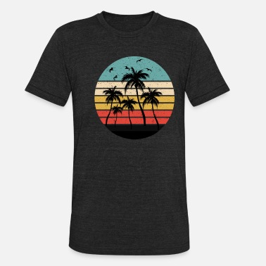 80s Sunset Palm Trees - Unisex Tri-Blend T-Shirt