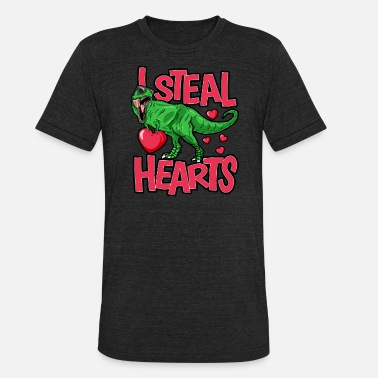 Saint Valentine S Day I Steal Hearts T Rex dinosaur Funny Gift For - Unisex Tri-Blend T-Shirt