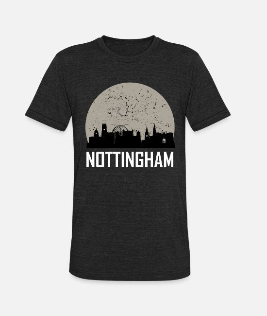 Nottingham T-Shirts - Nottingham Full Moon Skyline - Unisex Tri-Blend T-Shirt heather black
