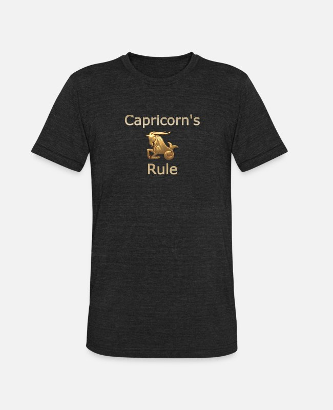 Gold T-Shirts - Fun Golden Zodiac Capricorn's Rule - Unisex Tri-Blend T-Shirt heather black