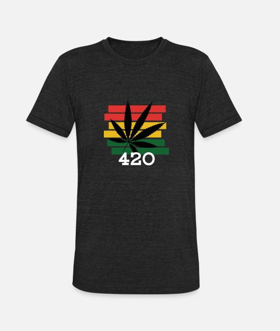 Dope T-Shirts - 420 Stoner Chiller Stoner Weed Cannabis - Unisex Tri-Blend T-Shirt heather black