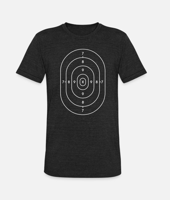 Ball T-Shirts - police target paper - Unisex Tri-Blend T-Shirt heather black