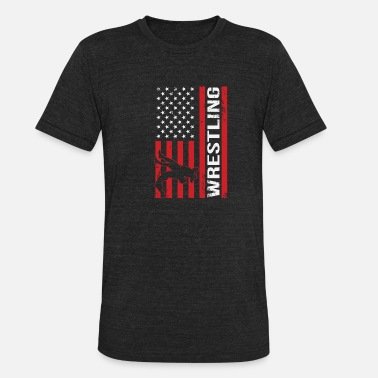 American Flag Competitive Wrestling - Unisex Tri-Blend T-Shirt
