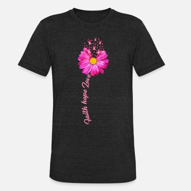Breast Cancer Awareness Pink Ribbon Flower - Unisex Tri-Blend T-Shirt