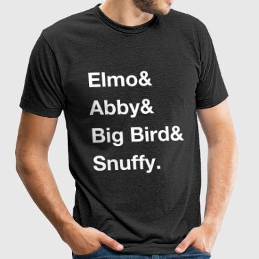 Elmo, Abby, Big Bird and Snuffy Ampersand Shirt - Unisex Tri-Blend T-Shirt