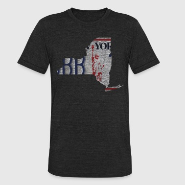 New York State License Plate Clothing Apparel Tees - Unisex Tri-Blend T-Shirt