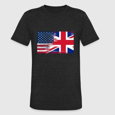 British American Half United Kingdom Half America - Unisex Tri-Blend T-Shirt by American Apparel