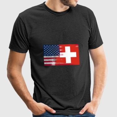Swiss American Half Switzerland Half America Flag - Unisex Tri-Blend T-Shirt