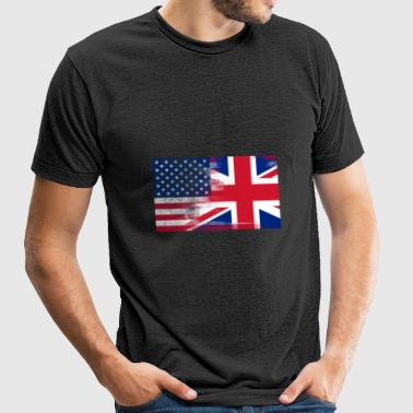 British American Half United Kingdom Half America - Unisex Tri-Blend T-Shirt