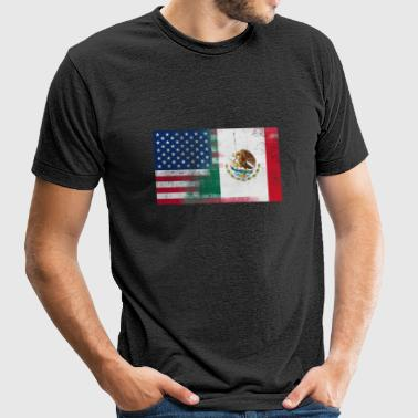 Mexican American Half Mexico Half America Flag - Unisex Tri-Blend T-Shirt by American Apparel