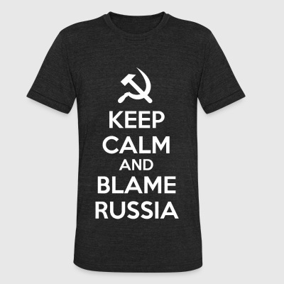 Russia - Keep Calm and Blame Russia or Russian H - Unisex Tri-Blend T-Shirt by American Apparel