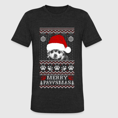 Ugly Christmas sweater for Morkie lover - Unisex Tri-Blend T-Shirt by American Apparel