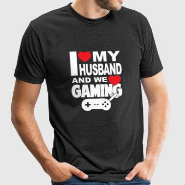 Gaming - i love my husband and we love gaming - Unisex Tri-Blend T-Shirt by American Apparel