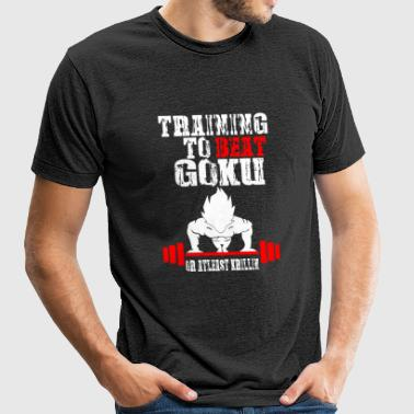 Goku - Training To Beat Goku Funny Gag Shirt Fro - Unisex Tri-Blend T-Shirt by American Apparel